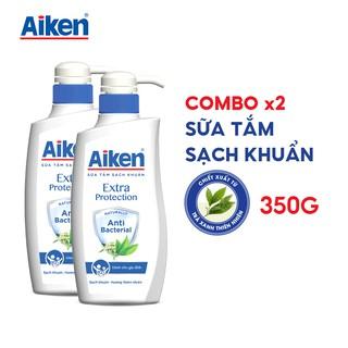 Aiken Combo 2 Sữa tắm Sạch khuẩn Chiết Xuất Trà Xanh Thiên Nhiên 350g chai thumbnail