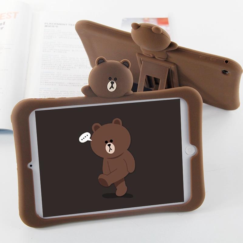 9.7 Inch Soft Case iPad 6 For iPad 2 3 4 With Bracket Cover Tablet Bear Cartoon iPad Air 2
