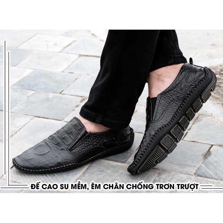 Giày nam da bò dập vân | giày lười nam đẹp