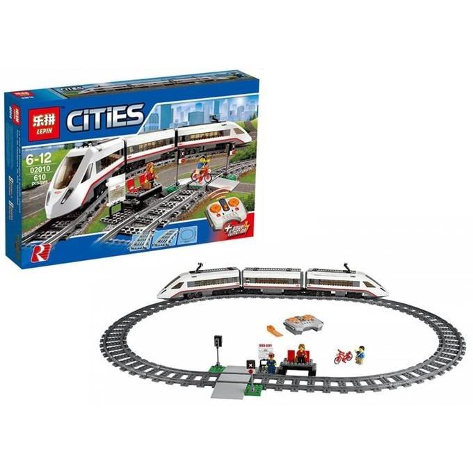 Lắp ráp xếp hình 659 mảnh lego City lepin 02010 Tàu điện ngầm thành phố chạy pin điều khiển từ xa