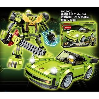 Xếp Hình Lego Robot + Siêu xe 2 in 1 Màu xanh lá. Lego Đồ chơi lắp ráp cho bé
