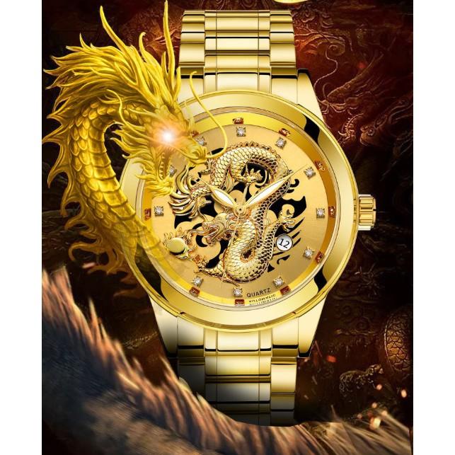Đồng hồ nam rồng vàng may mắn BOSCK