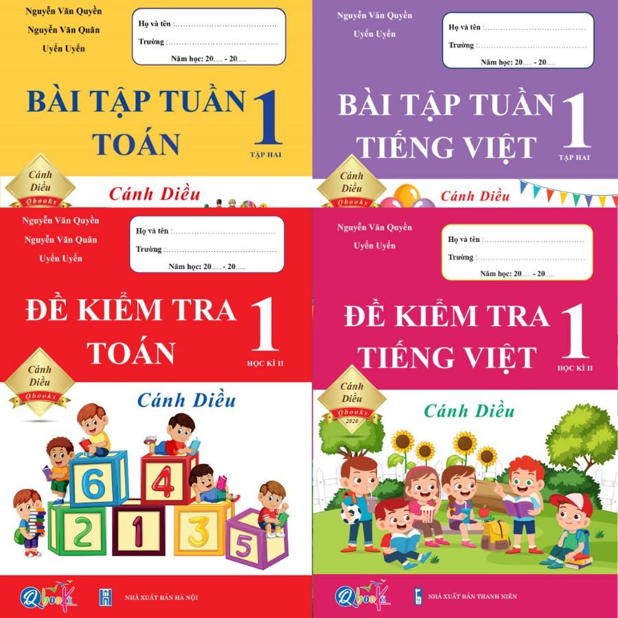Sách - Combo Đề Kiểm Tra và Bài Tập Tuần Toán và Tiếng Việt 1 - Cánh Diều - Học Kì 2 (4 cuốn)