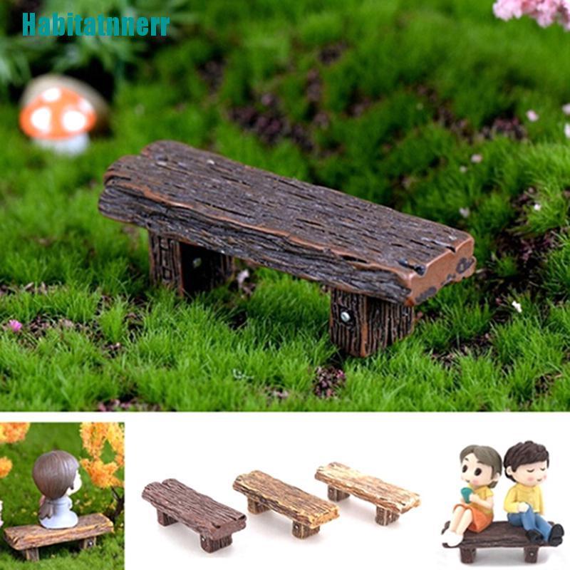 Set 2 Băng Ghế Mini Bằng Nhựa Dùng Để Trang Trí Sân Vườn / Nhà Búp Bê