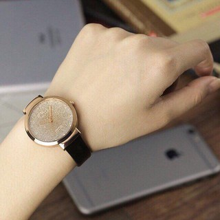 Đồng hồ ViSer thời trang nữ mặt kim tuyến dây da C279