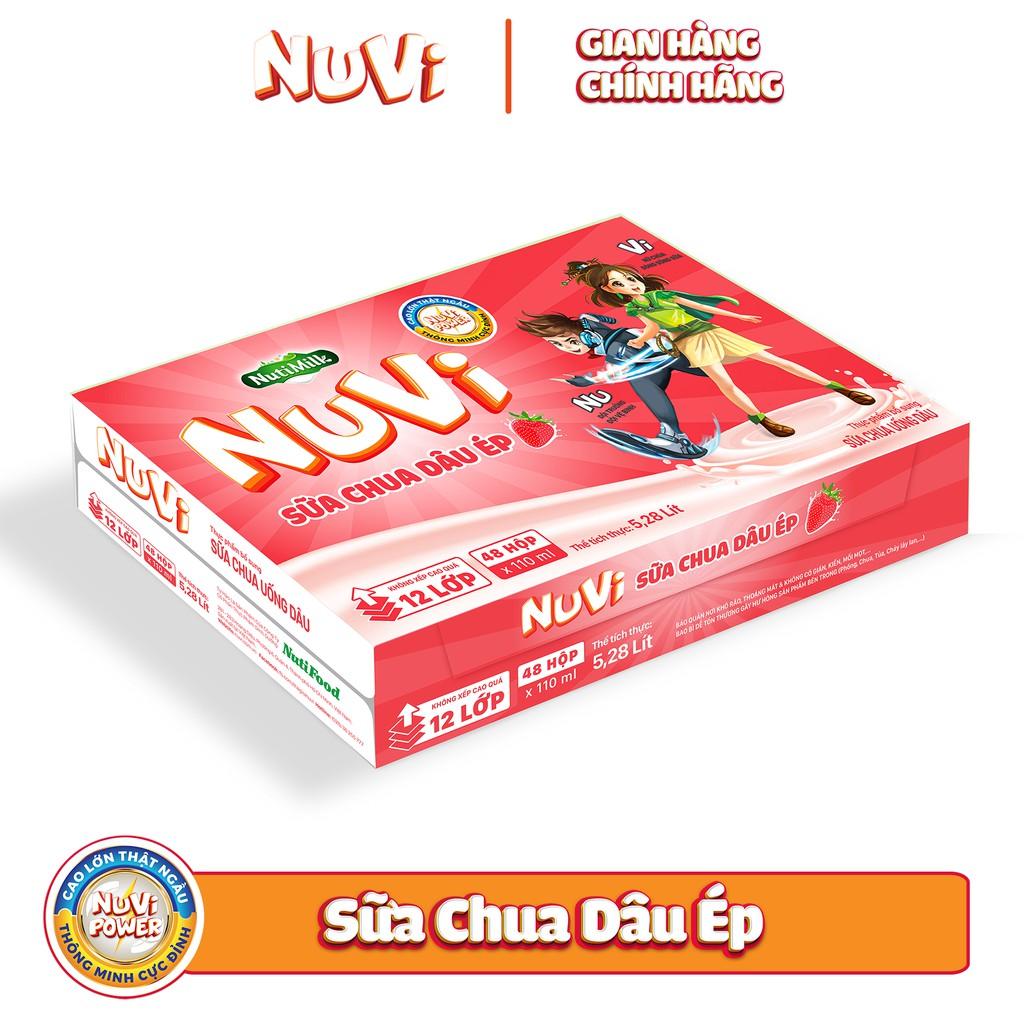 Thùng 48 hộp NuVi Sữa chua uống Dâu hộp 110ml/hộp