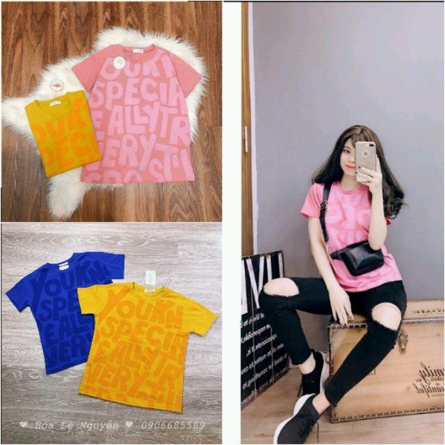 Áo phông in chữ to xanh vàng hồng