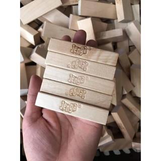 500 thanh Gỗ Jenga Xếp hình + Rút gỗ + Domino – hàng có logo, chuẩn đẹp, kích thước 7.5*2.4*1.5cm