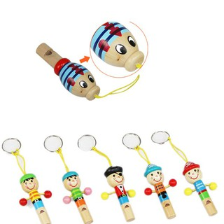 Education Toy Keychain Pendant Baby Pirate Whistle Wooden