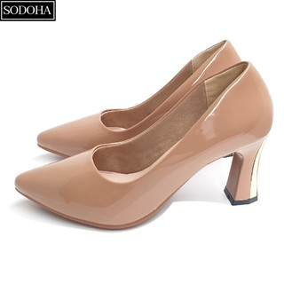 Giày cao gót nữ da bóng SODOHA gót cao 7cm SDH333
