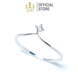 Nhẫn bạc QMJ Vương miện đính đá bản mỏng sang trọng- Q049