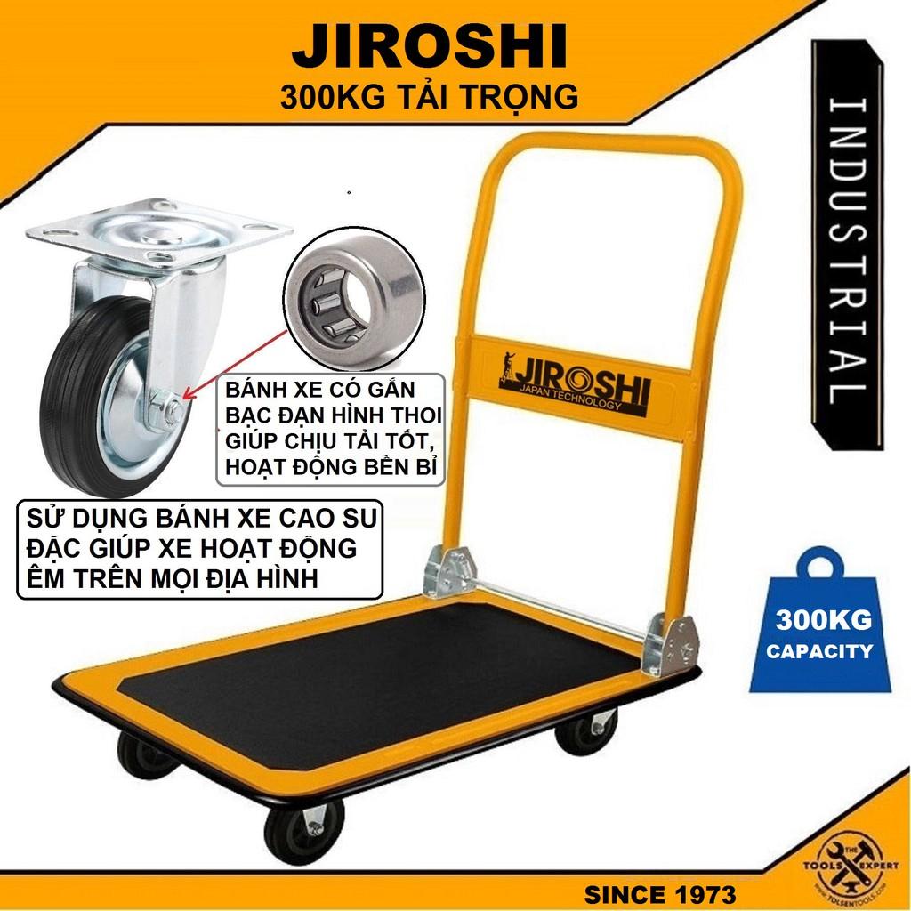 Xe Đẩy Hàng Tải 300kg JIROSHI Gấp Gọn Sàn Xe Lớn - Công Nghê Nhật Bản