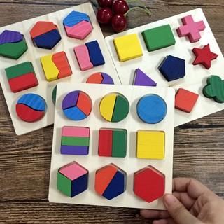 Combo 3 Bảng Xếp Hình Bằng Gỗ, Giải Đố Hình Học Logic cho bé – TG07