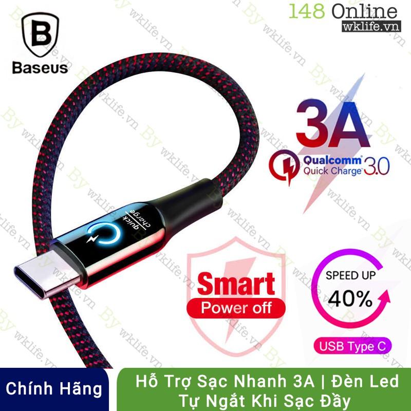 Cáp Sạc Nhanh USB Type C Tự Ngắt Thông Minh Baseus cho Android | Samsung | Huawei | OPPO | Xiaomi