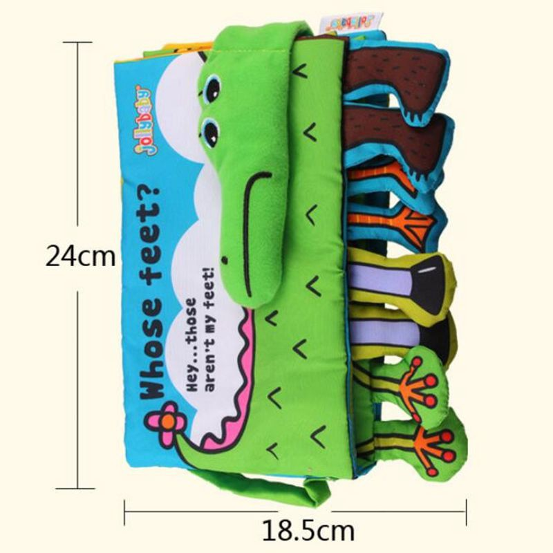 Jollybaby Cloth Books Soft Newborn Baby Toys Cute Cartoon Animal Crocodile Toddlers Infant Development Childre