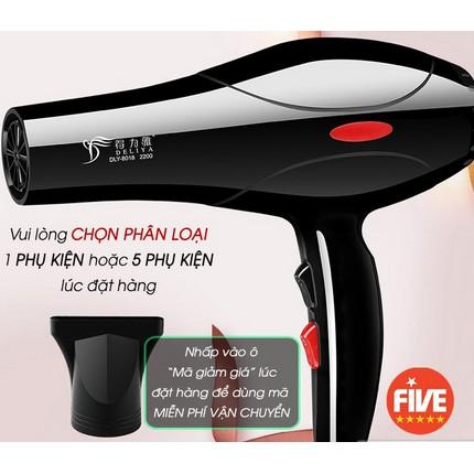 Máy sấy tóc Deliya Công Suất Lớn 2200W Tặng Kèm Bộ Phụ Kiện 5 Chi Tiết