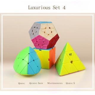 Set 4 /Combo 4 Rubik (Qiming -Pyraminx,Qicheng -Skewb,Qiheng S-Megaminx,Mastermorphix)