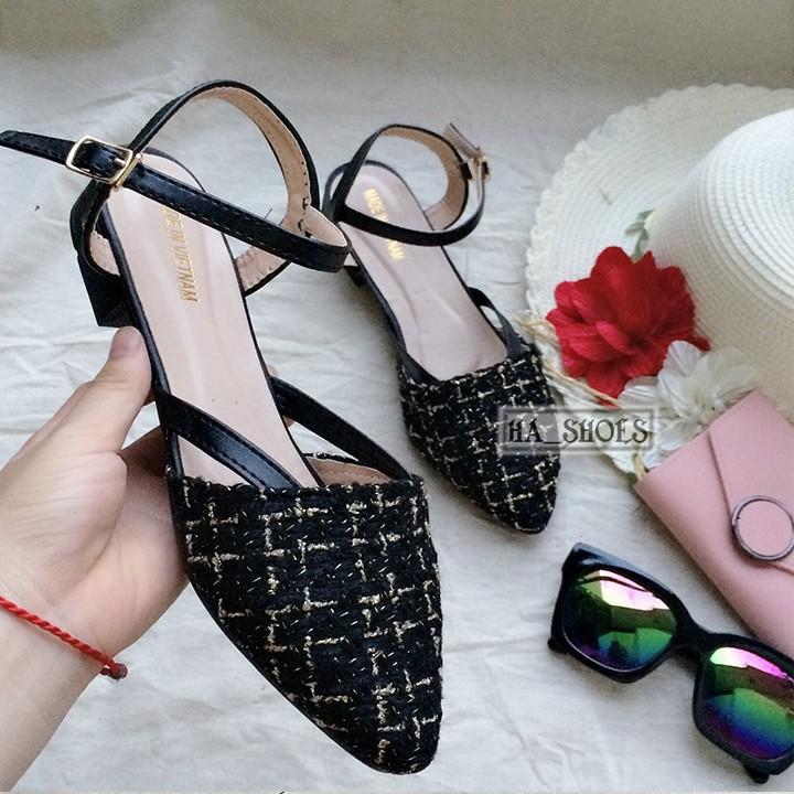 Giày xăng đan nữ gót 3cm phong cách hàn quốc chất dạ hot 2020