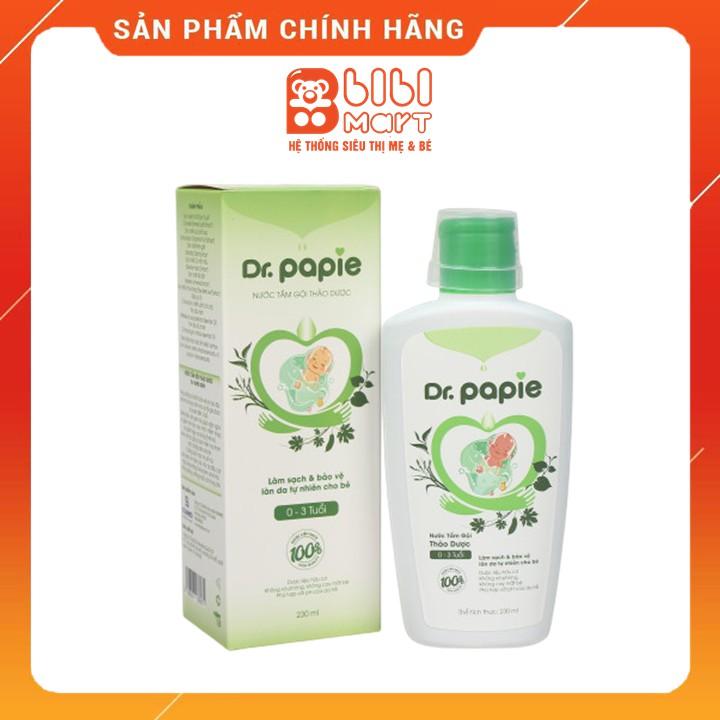 Sữa tắm gội thảo dược Dr Papie 230ml dành cho bé 0 - 3 tuổi, bảo vệ da bé, giữ da luôn mềm mại, thơm mát.