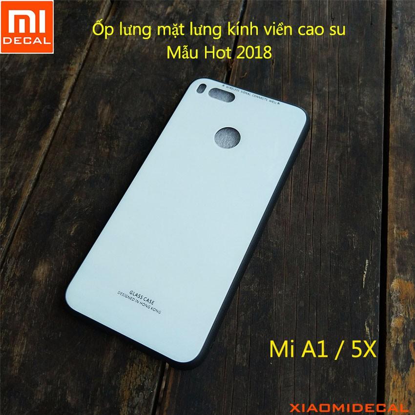 [ Xiaomi Mi A1/5X ] Ốp lưng mặt lưng kính cường lực viền cao su - TRẮNG