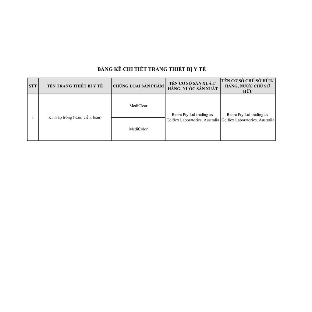 [FREESHIP] Một Cặp Kính Áp Tròng Australia Màu Nâu Medicolor 3 Tháng (1-6 Độ)