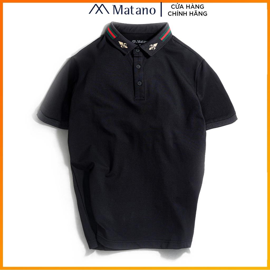 Áo polo nam đen đẹp cao cấp MATANO - Áo thun nam có cổ trụ bẻ dệt sọc, họa tiết, vải cá sấu cotton chính hãng 025