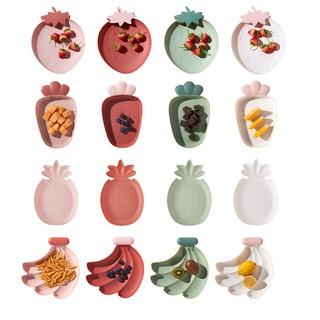 Khay ăn dặm, đĩa nhựa đựng hoa quả hình trái cây thumbnail