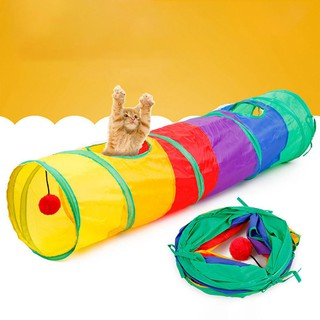 1/5 Holes Pet Cat Playing Tunnels Colorful Rainbow Foldable Pet Cat Playing Tunnel Toys Hanging For