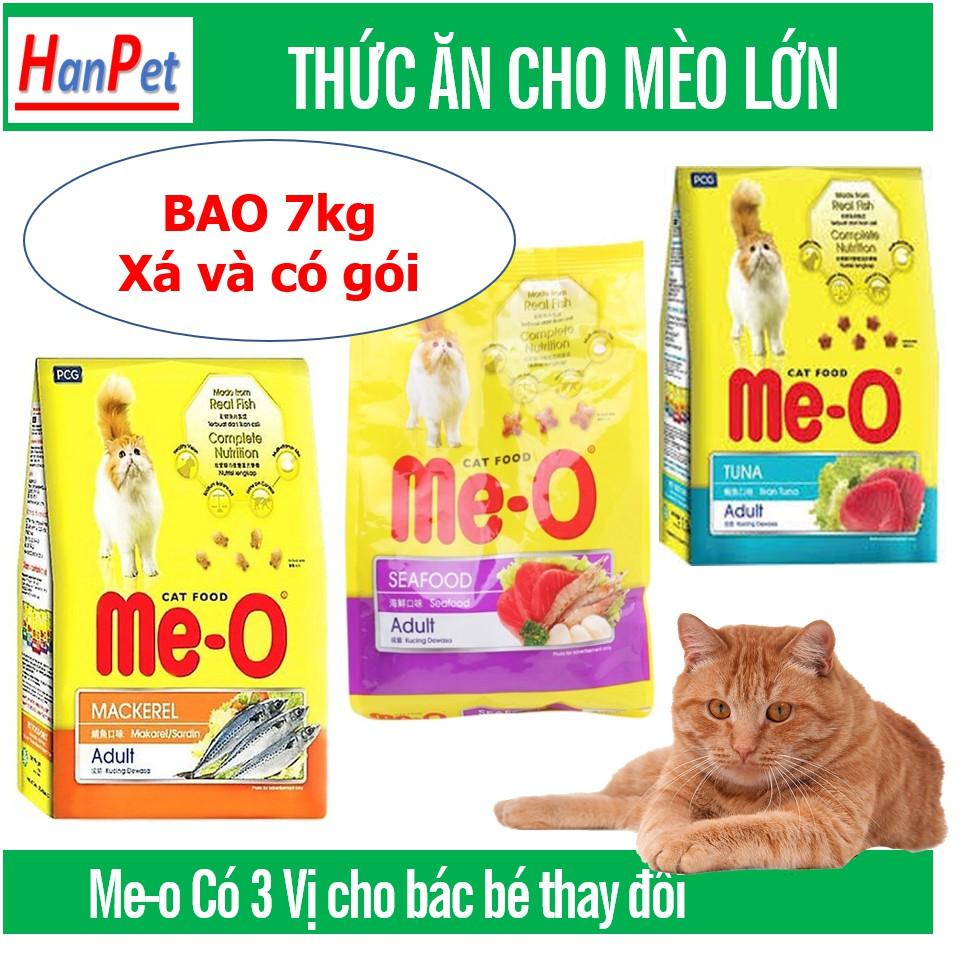 (Bao 7kg) Me-o Cám mèo - Thức ăn viên cho mèo mọi lứa tuổi dạng hạt khô giá siêu rẻ|Cá Thu 7kg (20 gói)