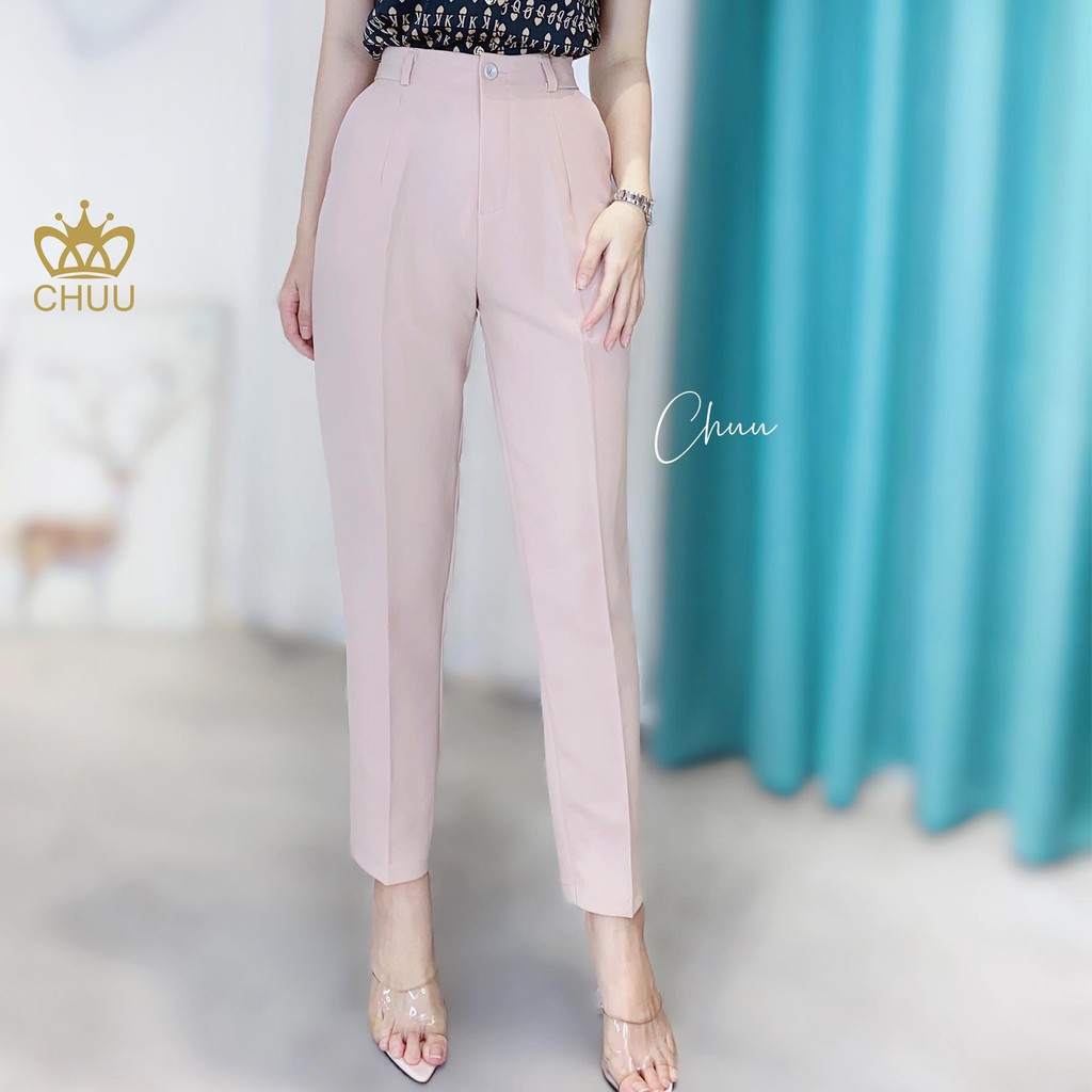 Mặc gì đẹp: Sang trọng với Quần tây công sở nữ lưng cao 6 size CHUU Q3087