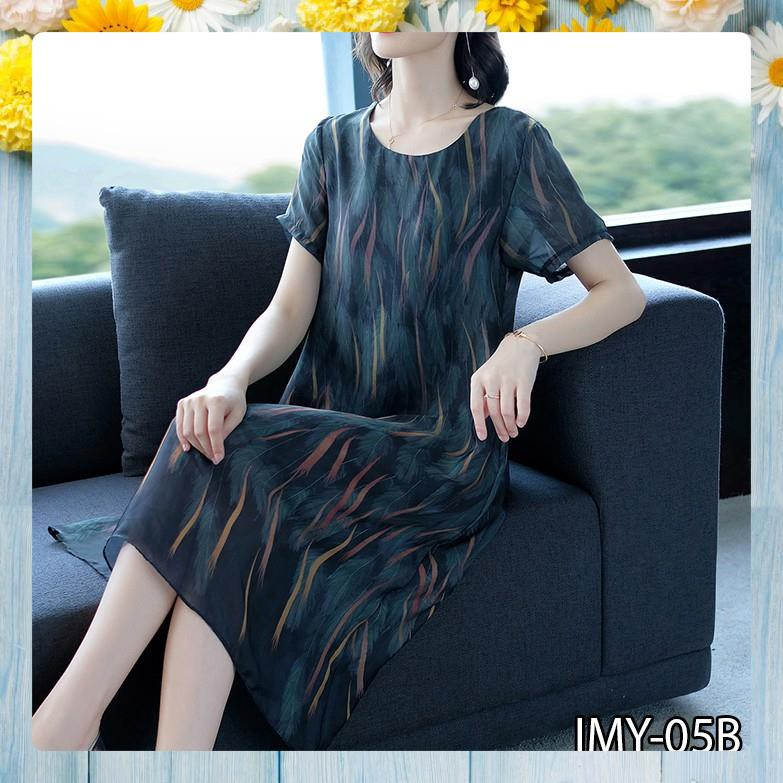Váy Trung Niên  - Đầm Trung Niên Hàng Thiết Kế, Vải Lụa Mát Mịn Thiết Kế Dành Cho U40-U50-U60