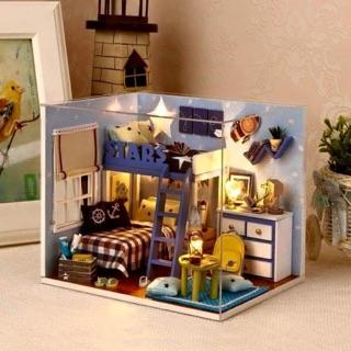 Mô hình lắp ráp nhà phòng gỗ giường 2 tầng handmade, DIY