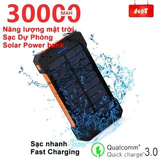 Pin sạc dự phòng 30000mAh năng lượng mặt trời, di động không thấm nước cho điện thoại thông minh sạc dự phòng Power bank