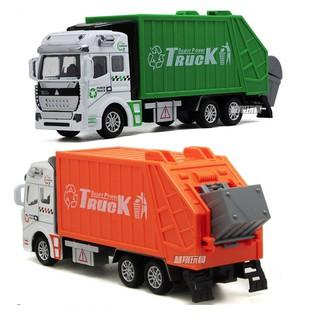 Xe ô tô chở rác đồ chơi trẻ em tỉ lệ 1:48 chạy cót đầu xe bằng sắt