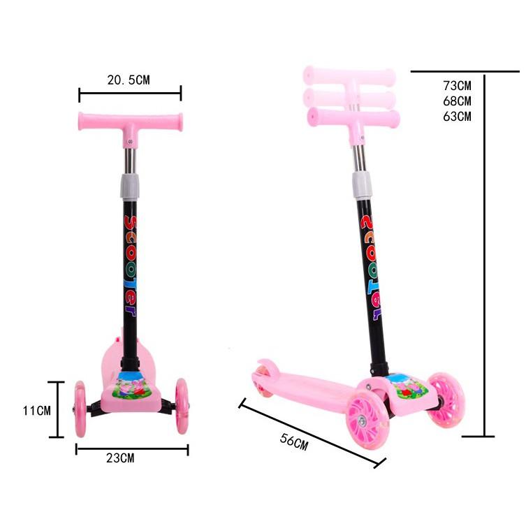 Xe Scooter Cao Cấp Cho Bé 2-8 Tuổi 3 Bánh Có Đèn LED Gấp Gọn Bền Đẹp 2020
