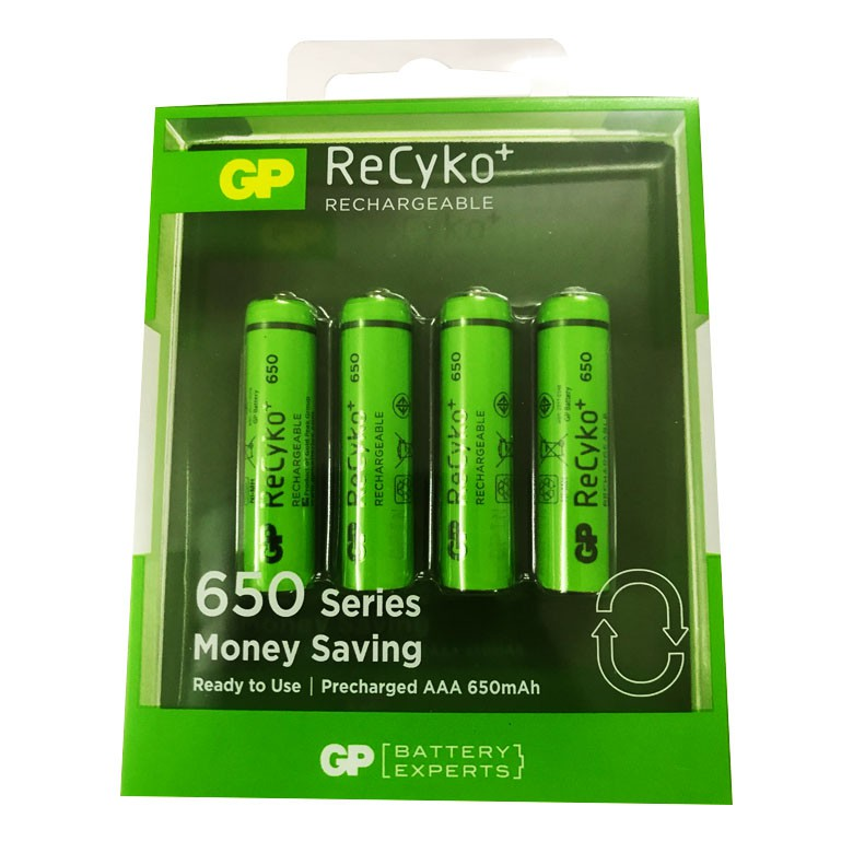 Vỉ 4 viên pin sạc Recyko+ GP AAA dung lượng 650mAh - GP65AAAHCE-2GBAS4