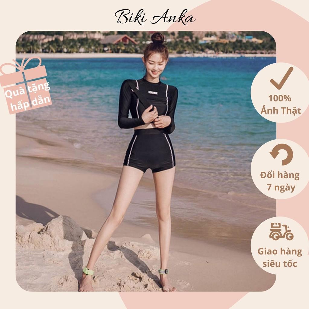Bikini Bộ Đồ Bơi Nữ USRONNIE Dài Tay Quần Short Đùi Cạp Cao Chất Đẹp