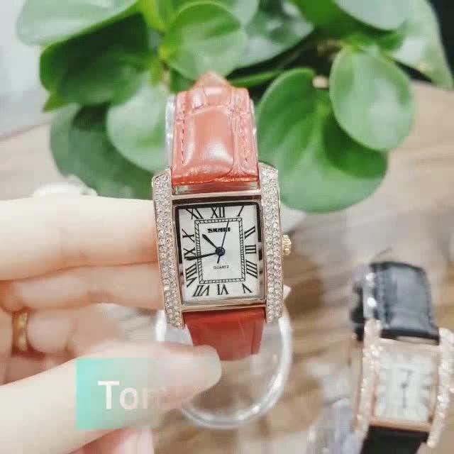 Đồng hồ nữ dây da SKMEI quyến rũ đồng hồ nữ mặt vuông đính đá dây