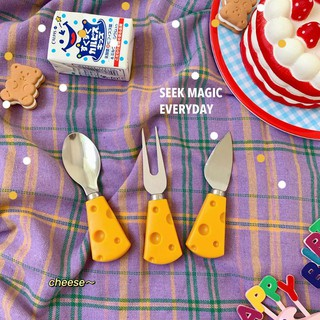Set muỗng nĩa dao phô mai cheese dễ thương tiện lợi ăn sáng quà giáng sinh, phụ kiện chụp ảnh