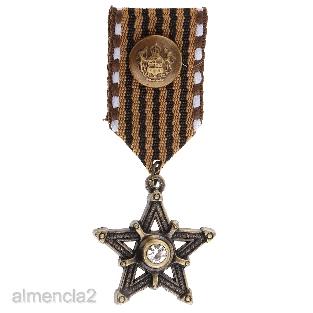 Vintage Men\'s Gift Star Medal Badge Clothing Fashion Costume Navy Brooch Pin