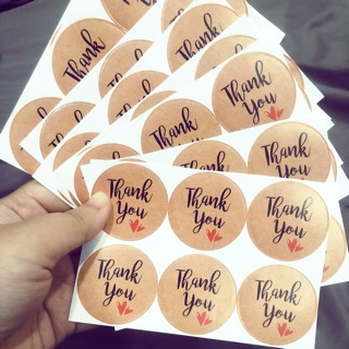 "Set 200 sticker dán ""Thank you"" (size 4cm)"
