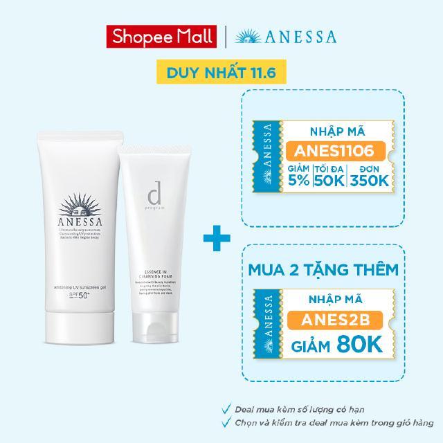 Bộ sản phẩm chống nắng Anessa dưỡng trắng và sữa rửa mặt dành cho da nhạy cảm dprogram thumbnail
