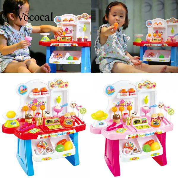 34 PCS Kids Plastic Pretend Play Toys Mini Supermarket Cashier Desk POS Toy Set Christmas Gift