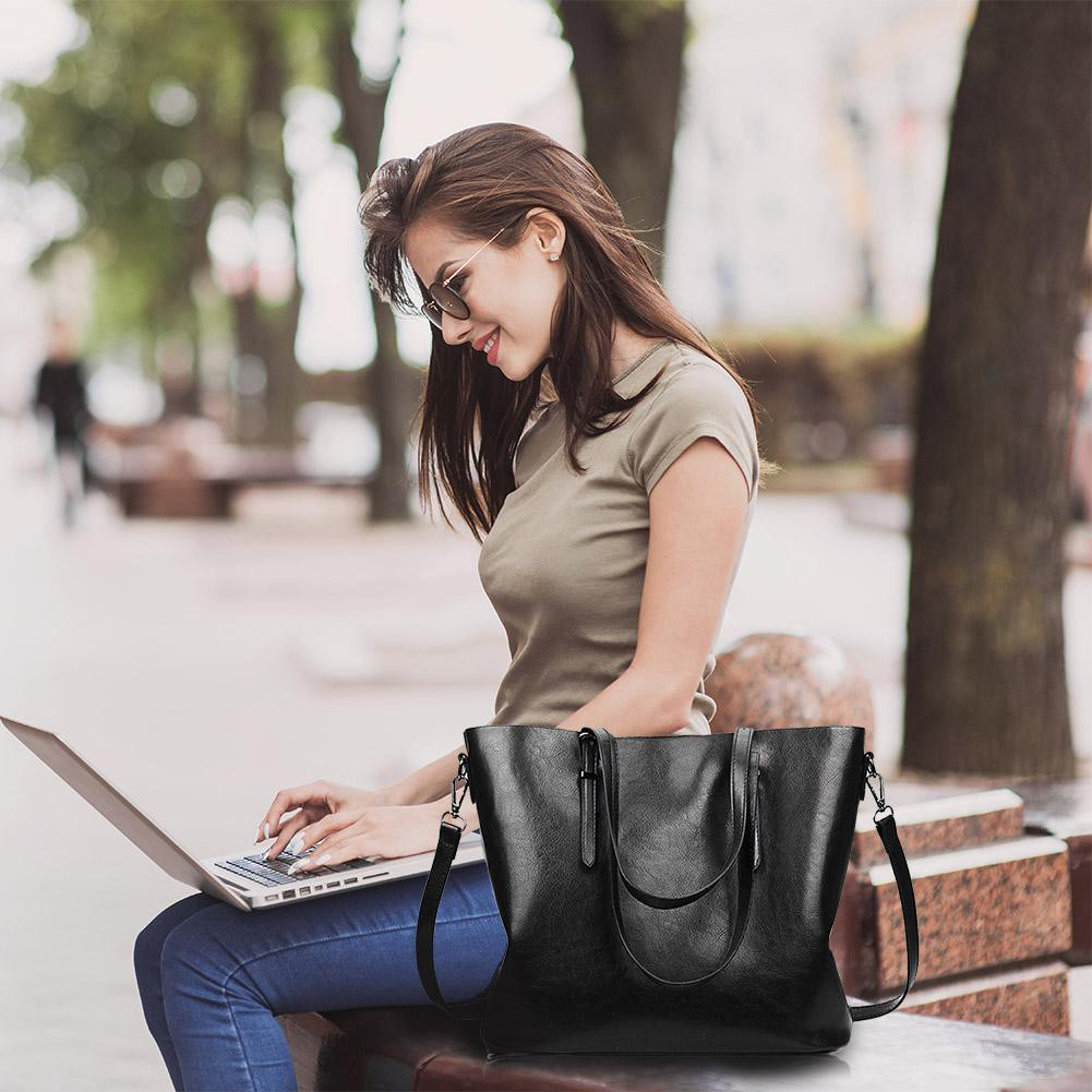 Women Oil Wax Leather Totes Shoulder Crossbody Handbags+Clutch Wallet Black