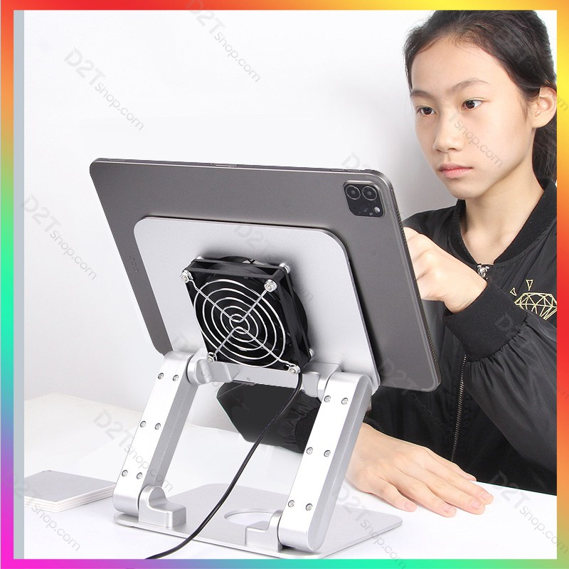 Giá đỡ cao cấp kèm quạt tản nhiệt cho iPad làm việc, chơi game PUBG, COD