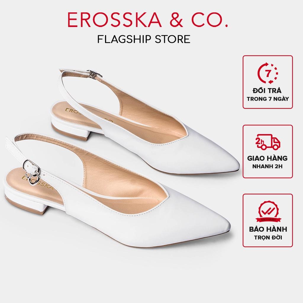 [Mã WABR151 giảm 10% đơn 99000] Giày cao gót Erosska mũi nhọn phối dây hở gót cao 2cm màu trắng _ EL001