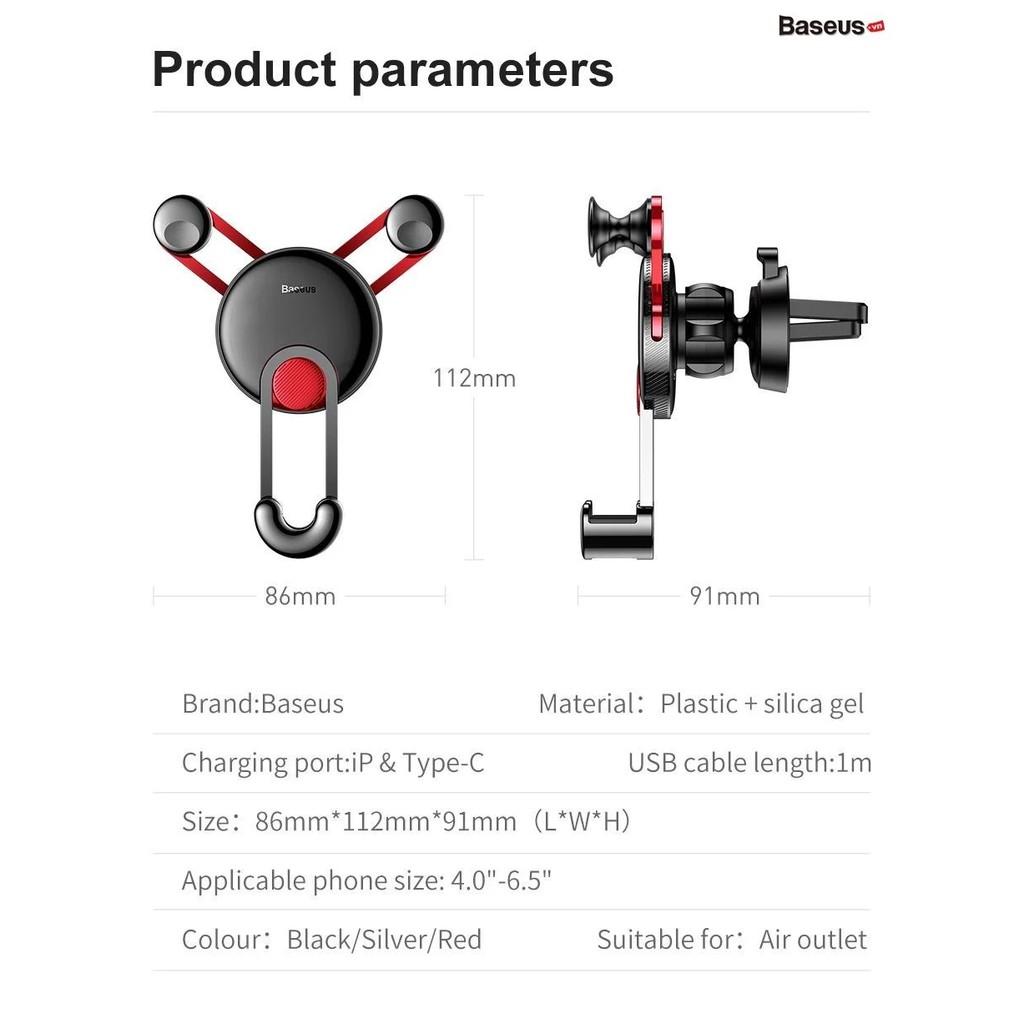 Giá đỡ điện thoại trên ô tô Baseus - Kèm dây sạc iPhone - Gắn khe gió chắc chắn - Thiết kế sang trọng - Chính Hãn