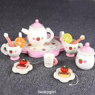 Girl Fruit Slice Cup Tray With Box Wooden Kitchen Kids Gift Tea Set Toy