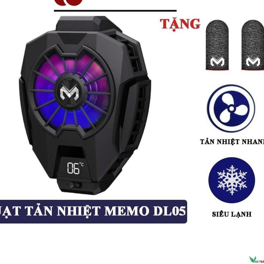 Quạt tản nhiệt điện thoại MEMO DL05 - Siêu lạnh, hiển thị nhiệt độ, LED RGB, tặng găng tay memo -dc4483 +dc4395