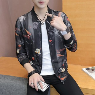 Ready Stock Macheda Summer Sun Protection Clothing Korean Slim Fit Bomber Print Hollow Long Sleeve Casual Lover Men Clothing Jackets Party Clothing